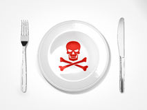 Food dangerous. Fork knife and plate with skull and cross bones Royalty Free Stock Photos