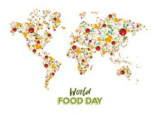 Food Day greeting card of vegetable world map royalty free stock photo