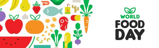 Food Day web banner with fruit and vegetable icons. World Food Day web banner illustration for nutrition and healthy diet with colorful flat cartoon icons vector illustration