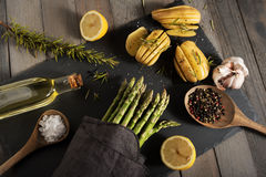 Food decoration with asparagus Stock Photo