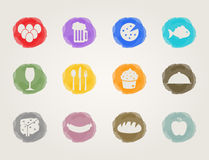 Food deli icons. Set for restaurant and bar Royalty Free Stock Photos
