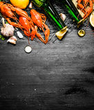 The food delicacies. Boiled crawfish with beer and spices. Royalty Free Stock Photo