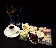 Food delicious elegant eat table beverage. Coffee wine meat salat grapes cheeses Royalty Free Stock Photo