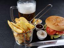 Food delicious healty fastfood chips burger Stock Photo