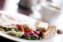 Food. Delicious vegetarian breakfast in cafe Royalty Free Stock Images