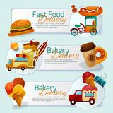 Food Delivery Banner Set Stock Photo
