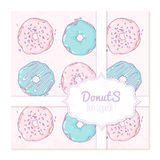 Food delivery box design with hand drawn donuts Royalty Free Stock Photography