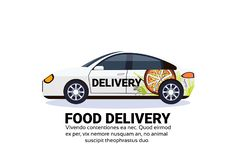 Food delivery car sedan transport parcel fast city transportation shipping industrial concept isolated flat horizontal. Copy space vector illustration stock illustration