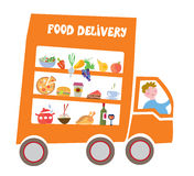 Food delivery cartoon Stock Images