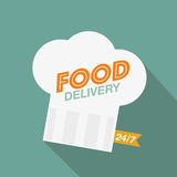 Food delivery chefs hat. Abstract background Stock Image
