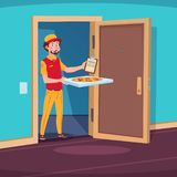 Food delivery concept. Cartoon guy deliver with pizza in home doorway. Vector illustration. Delivery pizza food, fast deliver courier royalty free illustration