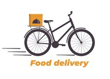 Food delivery design. Bicycle with box on the trunk. Food delivery service logo. Fast delivery. Flat vector illustration. Stock Images