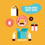 Food delivery design element set Delicious dessert Donut Coffee icons Royalty Free Stock Photos