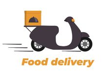Food delivery design. Motorbike with box on the trunk. Food delivery service logo. Fast delivery. Flat vector illustration. Stock Image