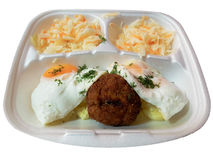 The food for delivery. Egg chop potatoes and salad Stock Photo