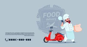 Food Delivery Emblem Concept Chef Cook Standing At Red Motor Bike Over Template Background Banner With Copy Space. Flat Vector Illustration Royalty Free Stock Images