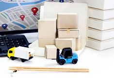Food Delivery : Freight transportation or packages shipment in b. Oxes and shipping, logistics and business food Delivery concept Royalty Free Stock Images