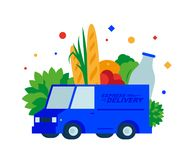 Food delivery. Fresh bread, herbs, fruits, vegetables, milk and drinks by truck. vector illustration