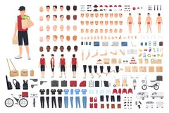 Food delivery guy animation kit or constructor. Set of male cartoon character`s body parts in different postures and. Clothes isolated on white background royalty free illustration