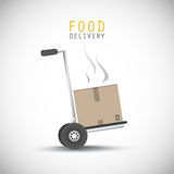 Food delivery hand truck royalty free illustration