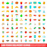 100 food delivery icons set, cartoon style. 100 food delivery icons set in cartoon style for any design vector illustration stock illustration