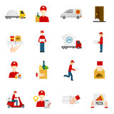 Food delivery icons set. Food delivery by courier with truck minibus or scooter flat icons set isolated vector illustration royalty free illustration