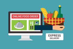 Food delivery, online internet order. Flat vector. Food delivery, online internet order. Computer and Hand holding basket with products. Flat vector Stock Photography