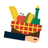Food delivery, online order. Hand holding basket Stock Image