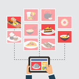 Food delivery, online order or recipe searching Stock Photos