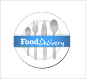 Food delivery plate and utensils Stock Photo