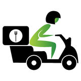 Food Delivery Scooter Stock Photo