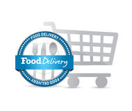 Food delivery seal and shopping cart Stock Photos