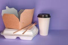 Food delivery service from restaurants and cafes. takeaway food containers. stock photos