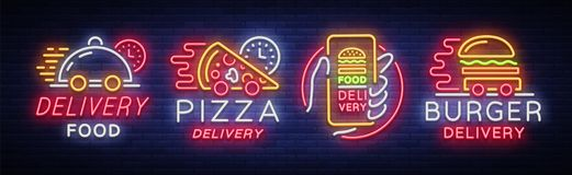 Food delivery set neon signs. Logotype collection in neon style, light banner, bright night advertising for delivery. Food for restaurant, pizzerias, cafes Stock Image