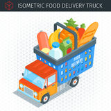 Food delivery truck. With a shopping basket. 3D Flat Vector Isometric Vehicle. Delivery service concept. Vector illustration stock illustration