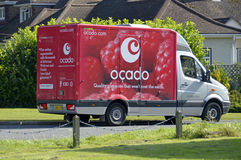 Food delivery van. Ocado groceries home delivery van parked in residential turning whilst driver makes deliveries Brentwood Essex England UK Royalty Free Stock Photography