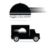 Food delivery vehicle black vector Royalty Free Stock Images