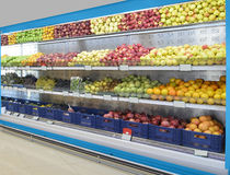 Food Department in Supermarket Stock Image
