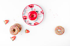 Food design with donat on plate white table background top view mockup Stock Photography