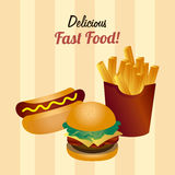Food design over yellow background vector illustration Royalty Free Stock Images