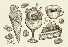 Food, dessert, drink. Hand drawn ice cream, sundae, cup of coffee, tea, cake, pie, chocolate, candy. Sketch vector Stock Images