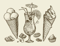 Free Food, Dessert, Drink. Hand Drawn Vintage Ice Cream, Sundae, Chocolate, Candy, Cocktail, Lemonade. Sketch Vector Stock Photography - 73723842