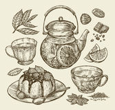 Food, dessert, drinks. Hand drawn teapot, tea, coffee, cup, pie, pasty, cake. Sketch vector illustration Stock Image
