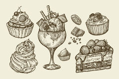 Food, dessert. Hand drawn ice cream, meringue, cupcake, chocolate, piece of cake, pastry, candy, muffin. Sketch vector. Food, dessert. Hand-drawn ice cream stock illustration