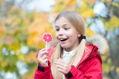Food, dessert, snack. Child smiling with candy on stick outdoor. Girl smile with lollipop on natural background. Happy childhood concept. Punchy pastel trend Stock Photography