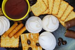 Food, dessert, tea. Various confectionery products: marshmallows stock image