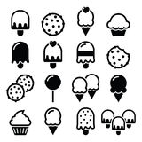 Food, desserts icons - cupcake, ice-cream, cookie, lollipop Royalty Free Stock Photo