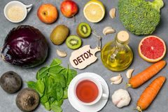 Food for detoxification. Detox food purify body of toxins, have beneficial health effects. Concept of purification. Small cutting board with word detox. Top Royalty Free Stock Images