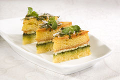 Food Dhokla with Chees Royalty Free Stock Photography