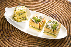 Food Dhokla with Chees and Khandvi Royalty Free Stock Photos
